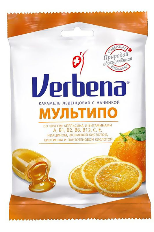 Леденцы Verbena Мультипо с апельсиновой начинкой и витаминами фото