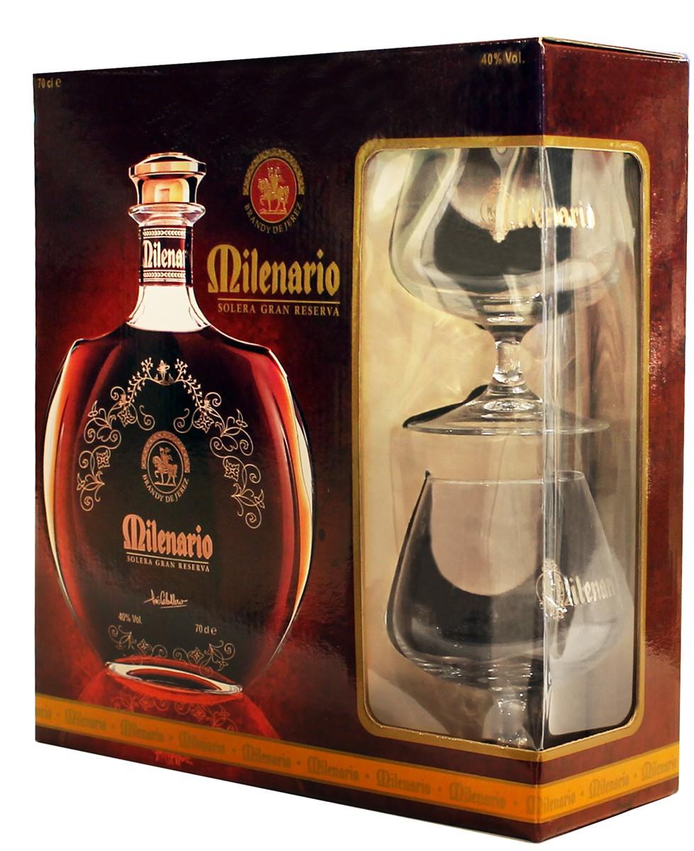 Luis Caballero Milenario Brandy de Jerez Solera Gran Reserva (с бокалами) фото