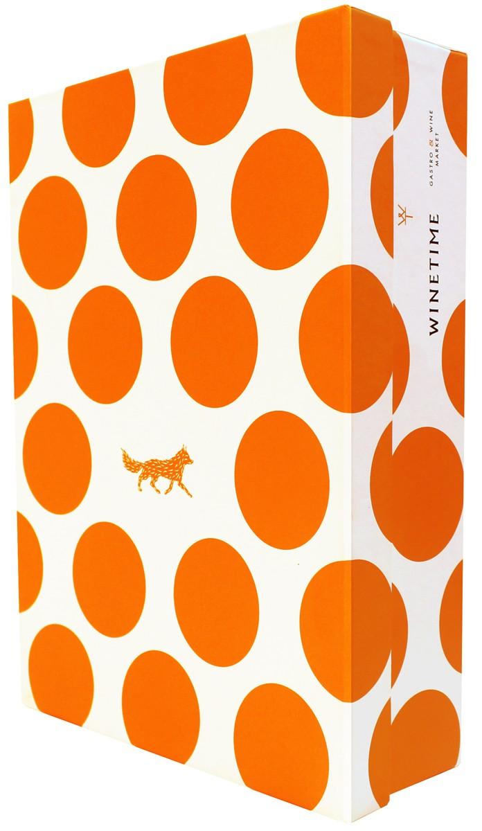 Оранжевая сувенирная брендировання коробка Wine Time фото