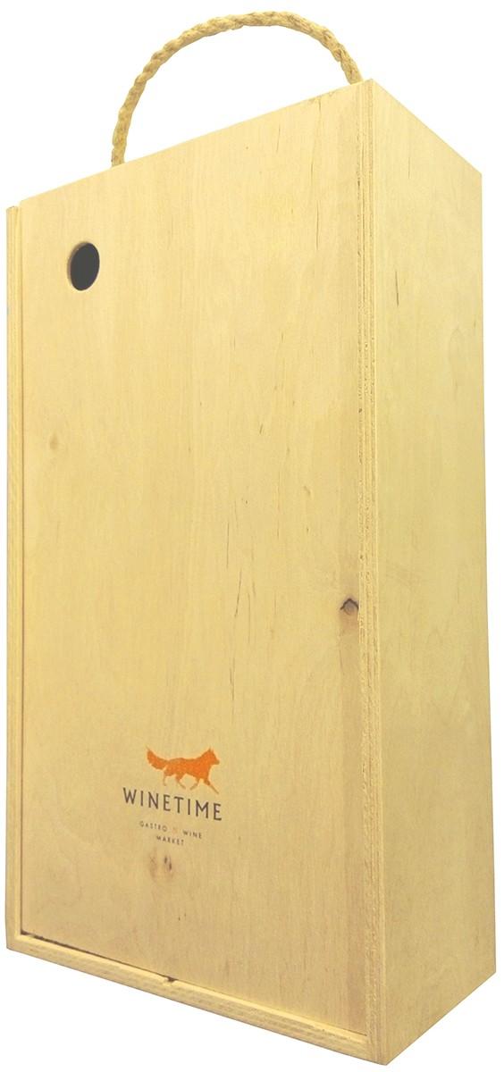 Короб подарочный деревянный Wine Time Fox (на 2 бутылки) фото