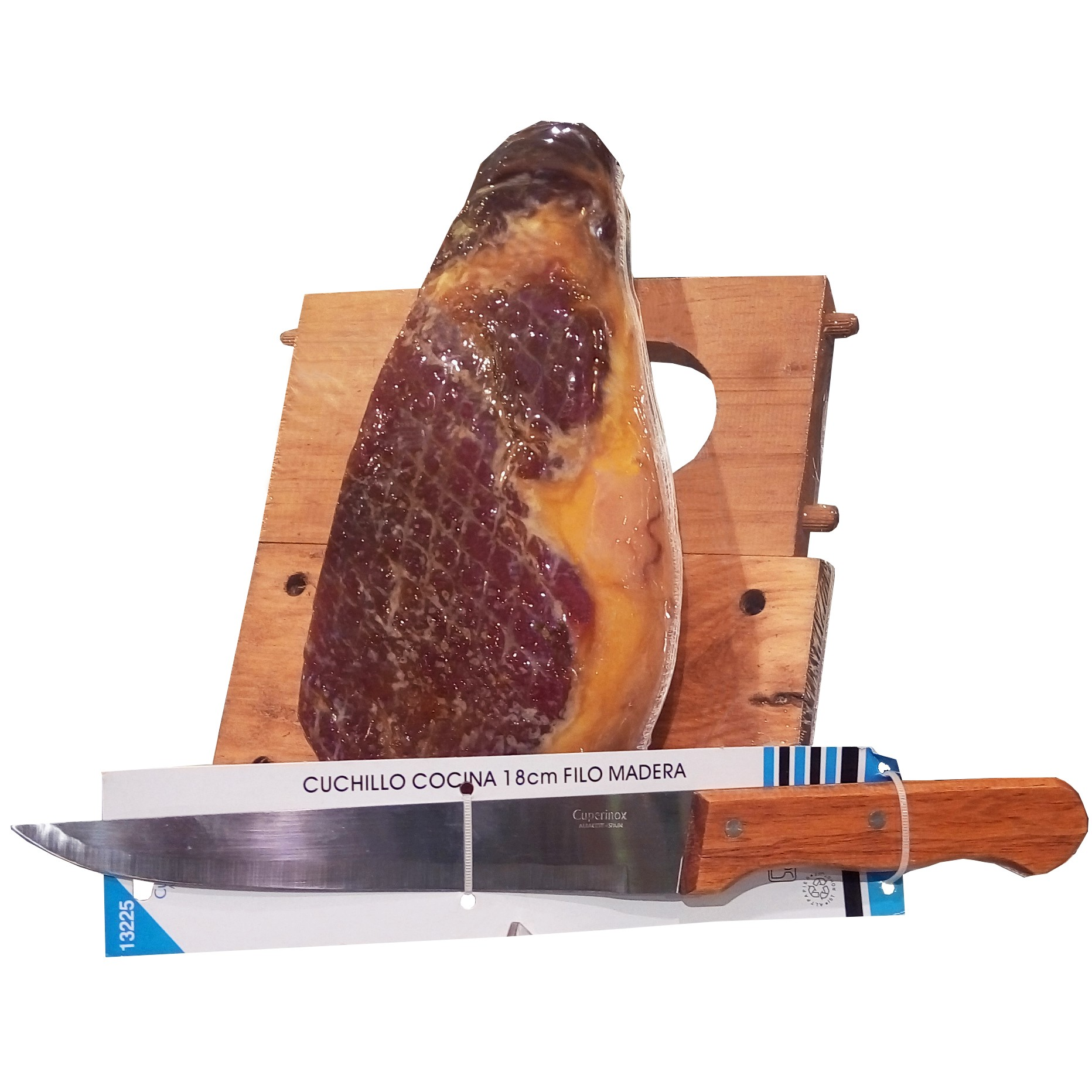 Хамон курадо мини с хамоньерой и ножом Espana E Hijos 14 мес. фото