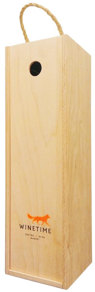 Короб подарунковий дерев'яний Wine Time Fox (на 1 пляшку ігристого) фото
