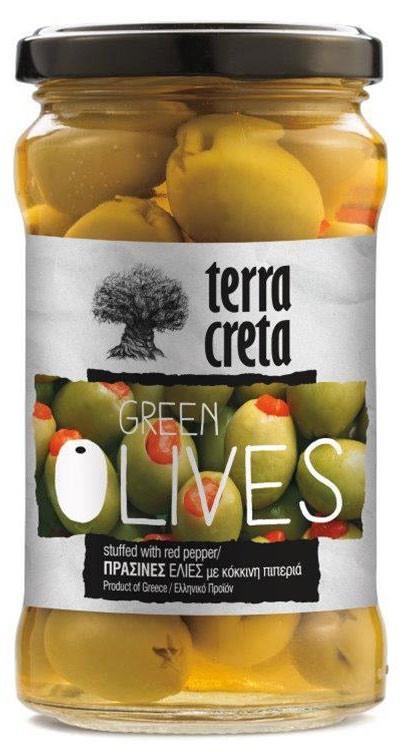 Оливки зелені з перцем Terra Creta фото