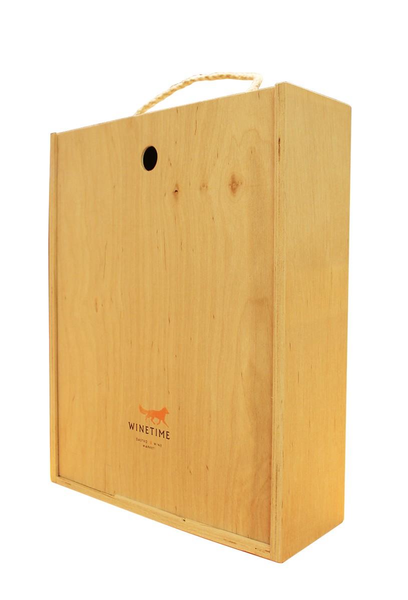 Короб подарочный деревянный Wine Time Fox (на 3 бутылки) фото