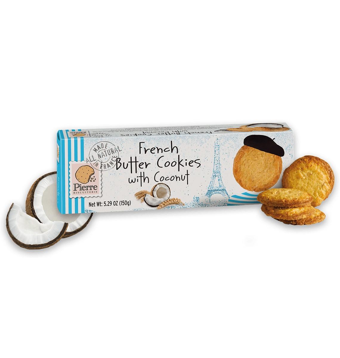 Печенье французское сливочное с кокосом Pierre Biscuiterie фото