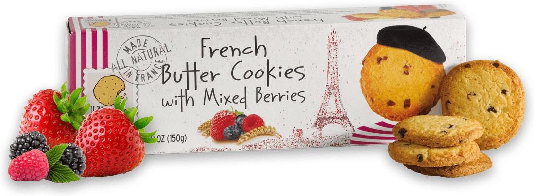 Печенье французское сливочное с ягодным миксом Pierre Biscuiterie фото