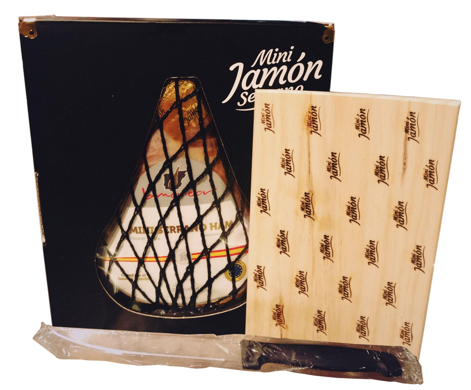 Хамон mini Serrano Jamondor с доской для нарезания и ножом фото