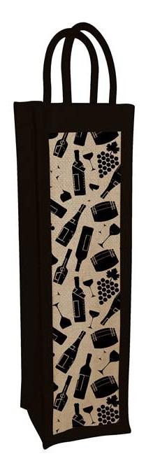 Джутова сумка для вина чорна Silk Route фото