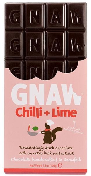 Шоколад чорний Бельгійський зі смаком чилі та лайма Gnaw фото