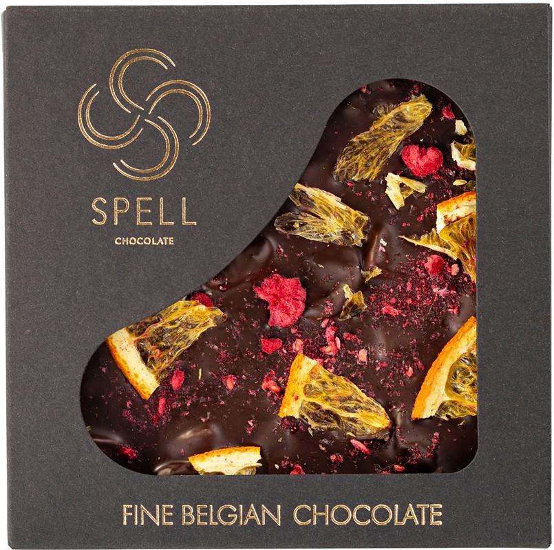 Плитка черного шоколада с апельсином и малиной Spell фото