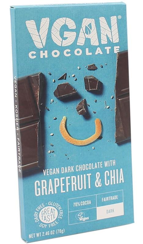 Вегетаріанський чорний шоколад з грейпфрутом та чіа VGAN фото