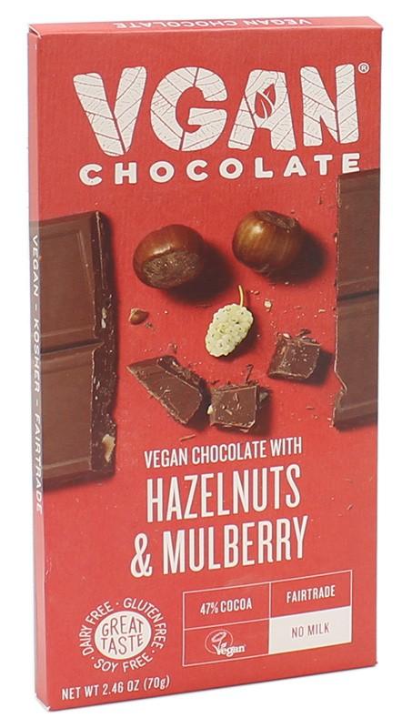 Вегетарианский шоколад с лесным орехом и шелковицей без сахара VGAN фото