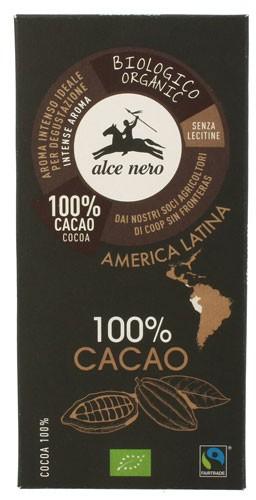 Шоколад экстра черный 100% Fairtrade America Latina Alce Nero фото