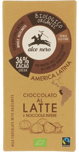 Шоколад молочный с лесным орехом Fairtrade America Latina Alce Nero фото