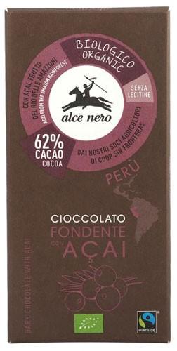 Шоколад черный 62% с ягодами Асаі Fairtrade Peru Alce Nero фото