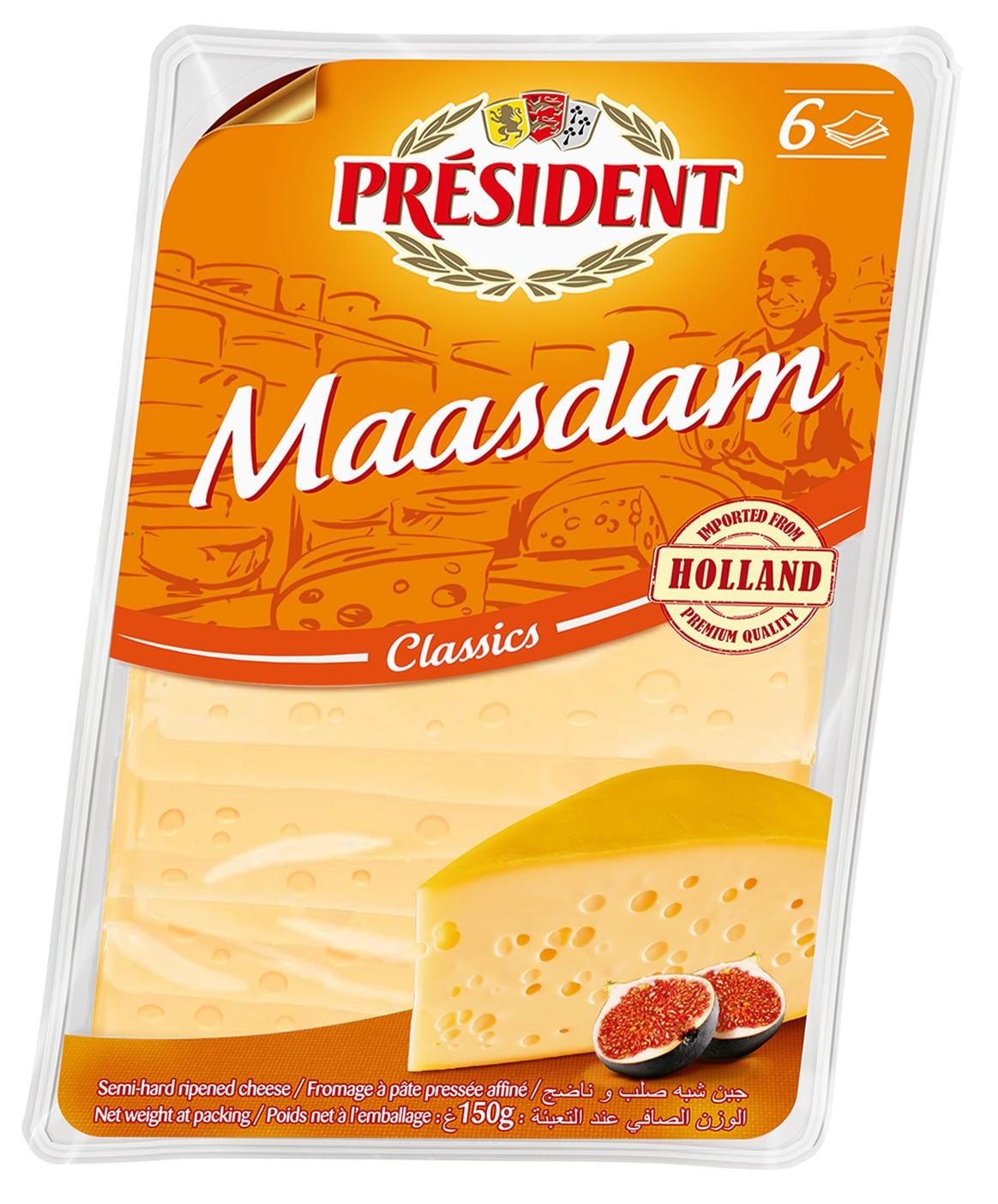Сир твердий Мааздам скибками 46% PRESIDENT фото