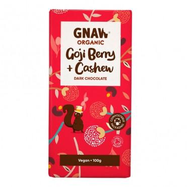 Шоколад черный с ягодами годжи и орехами кешью органический Gnaw фото