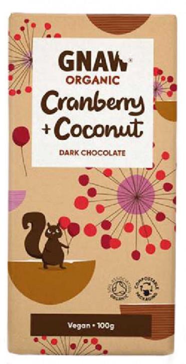Шоколад черный с клюквой и кокосом органический Gnaw фото