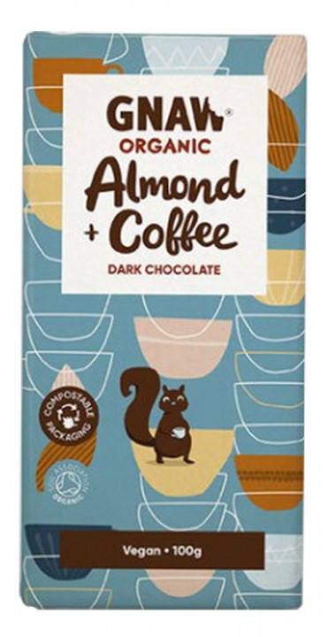 Шоколад черный с миндалем и кофе органический Gnaw фото