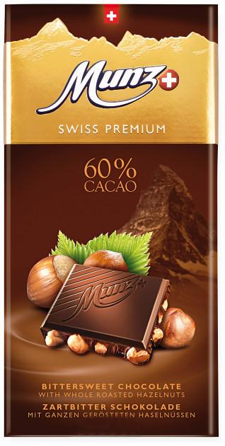 Черный шоколад 60% с цельным фундуком Munz фото