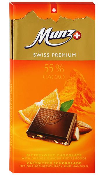 Черный шоколад с апельсином и миндалем Munz фото