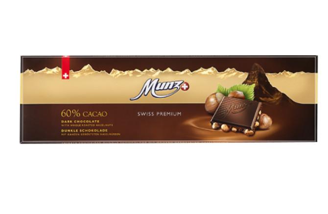 Чорний шоколад 60%  з цільним фундуком Munz фото